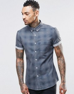 Серая выбеленная джинсовая рубашка скинни в клетку ASOS - Серый