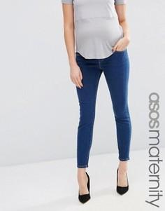 Джинсы скинни для беременных с посадкой над животом ASOS Maternity Ridley - Синий