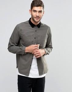 Джинсовая рубашка цвета хаки с вельветовым воротником ASOS - Зеленый