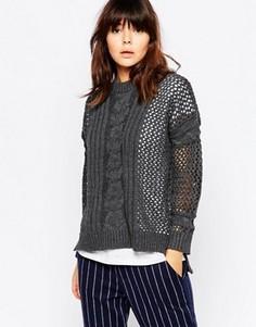 Контрастный ажурный свитер с вязкой косичкой Native Youth - Серый