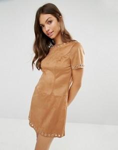 Цельнокройное платье из искусственной замши Glamorous - Коричневый