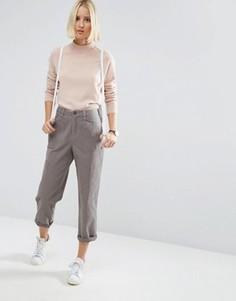 Укороченные брюки чиносы с накладными карманами ASOS - Бежевый