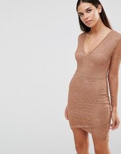 Платье с длинными рукавами и V-образным вырезом AX Paris - Коричневый