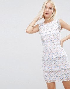 Короткое приталенное кружевное платье с принтом ASOS - Мульти