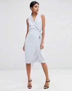 Платье миди из ткани премиум-класса с запахом ASOS - Синий