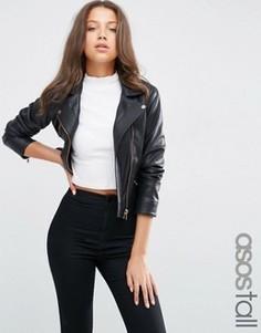 Байкерская куртка из искусственной кожи ASOS TALL - Черный