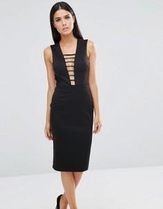 Платье миди с вырезом сзади Club L - Черный