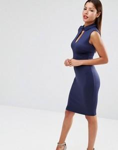 Платье-футляр миди с воротником в стиле Питер Пен Club L - Темно-синий