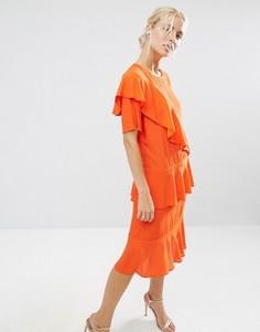 Чайное платье миди ASOS - Оранжевый