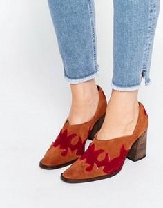 Коричневые замшевые туфли на каблуке в стиле вестерн Free People Alamo - Коричневый