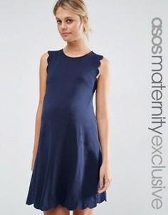 Цельнокройное платье для беременных ASOS Maternity - Темно-синий