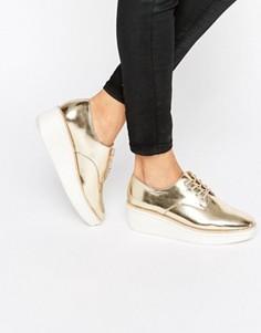 Ботинки цвета металлик на массивной плоской подошве ALDO Rivale - Золотой