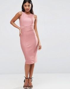 Облегающее бандажное платье миди с высоким воротом ASOS - Розовый