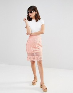 Кружевная юбка с прозрачными вставками J.O.A - Розовый J.O.A.