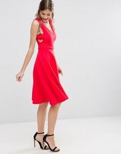 Пышное платье миди с кружевными вставками по бокам ASOS - Красный
