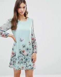 Цельнокройное платье с длинными рукавами и принтом бабочек Yumi - Зеленый