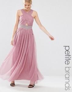 Платье макси с вырезом и отделкой на талии Little Mistress Petite - Розовый