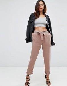 Тканые широкие брюки с выбеленным эффектом и завязками ASOS - Розовый
