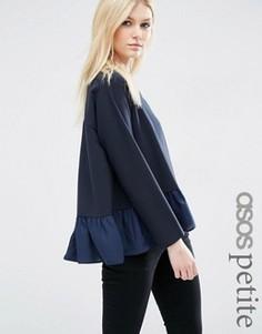 Oversize-свитшот с полупрозрачной оборкой по низу ASOS PETITE - Темно-синий