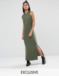 Платье макси цвета хаки с капюшоном Nocozo - Зеленый