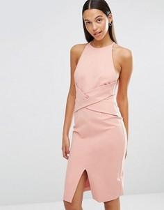Платье миди с запахом спереди и глубоким вырезом сзади Lavish Alice - Розовый