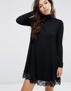 Свободное платье с воротником поло и кружевной кромкой ASOS - Черный