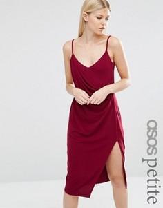 Креповое платье-комбинация миди с запахом ASOS PETITE - Красный