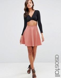 Фактурная короткая расклешенная юбка ASOS TALL - Розовый