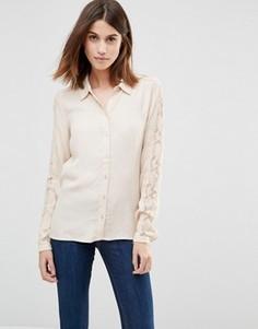 Рубашка с кружевными рукавами Vila - Бежевый