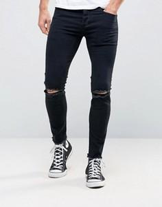 Рваные джинсы скинни Sixth June - Черный