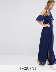 Платье макси с высокой горловиной и оборками TFNC WEDDING - Темно-синий