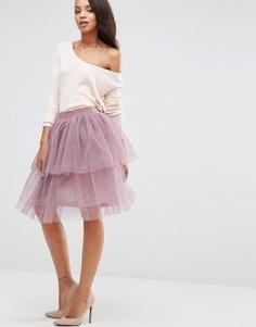 Многослойная юбка из тюля Boohoo - Фиолетовый