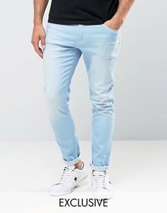 Светлые джинсы скинни с контрастной отделкой Brooklyn Supply Co - Синий