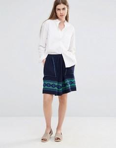 Короткая расклешенная юбка с вышивкой и карманами Vanessa Bruno Athe - Темно-синий