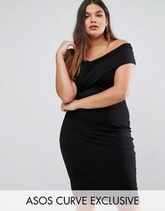 Облегающее платье‑футляр миди с асимметричной горловиной ASOS CURVE - Черный