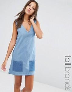 Джинсовое платье в стиле пэтчворк Liquor & Poker Tall - Синий