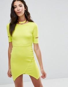 Облегающее платье с вырезами на рукавах Twin Sister - Желтый