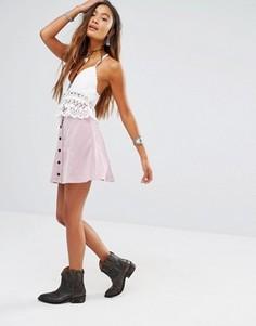 Вельветовая мини‑юбка на пуговицах Glamorous - Фиолетовый
