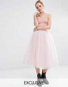 Юбка миди из тюля Reclaimed Vintage - Розовый