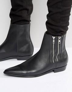 Кожаные ботинки с двумя молниями Religion Pistol - Черный