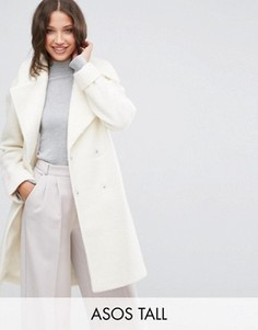 Oversize-пальто с отворотами на манжетах ASOS TALL - Бежевый