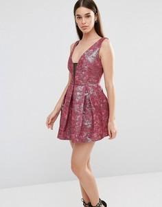 Жаккардовое платье для выпускного Lashes Of London Tilly - Красный