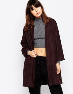 Клетчатое легкое пальто с начесом Native Youth - Черный