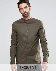 Рубашка суперузкого кроя с воротником на пуговицах Only & Sons - Зеленый
