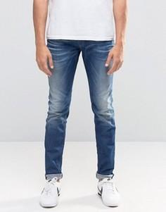 Джинсы скинни в винтажном стиле Diesel Sleenker 857B - Синий