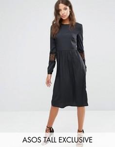 Платье миди с длинными рукавами и кружевными вставками ASOS TALL - Черный
