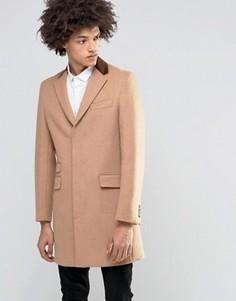 Пальто из 80% итальянской шерсти с бархатным воротником Gianni Feraud Premium - Рыжий