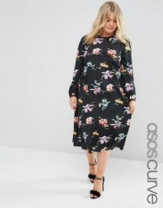 Платье-футляр миди с длинными рукавами и принтом ASOS CURVE - Мульти