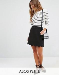 Мини юбка-трапеция с фактурной отделкой по краю ASOS PETITE - Черный