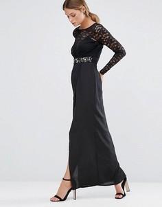 Платье макси с кружевной отделкой и высоким разрезом Elise Ryan - Черный